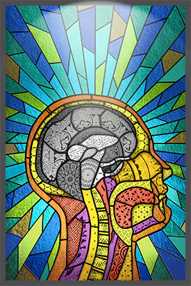 Cross-sectional side view of a human brain against a background of colorful stained glass